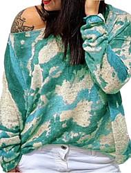 cheap -Women's Plus Size Tops Blouse Shirt Tie Dye Print Long Sleeve Crewneck Streetwear Fall Blue Purple Yellow Big Size L XL XXL 3XL 4XL