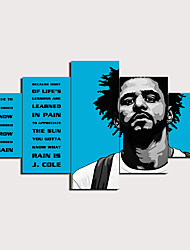 cheap -5 Panels Wall Art Canvas Prints Painting Artwork Picture J Cole Quotes Blue Painting Home Decoration Decor Rolled Canvas No Frame Unframed Unstretched