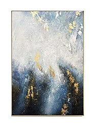 cheap -Oil Painting Handmade Hand Painted Wall Art Rectangle Blue Gold Foil Abstract Bedroom Decoration Paintings Home Decoration Decor Stretched Frame Ready to Hang