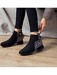 cheap -Women's Boots Chunky Heel Round Toe Booties Ankle Boots Daily PU Solid Colored Black Beige / Knee High Boots