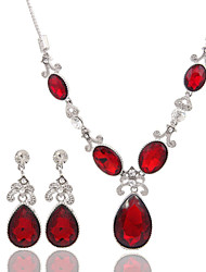 cheap -Women's Crystal Bridal Jewelry Sets Geometrical Drop Fashion Earrings Jewelry Red / White For Party Wedding Gift Festival 1 set