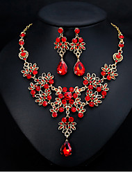 cheap -Women's Bridal Jewelry Sets Geometrical Pear Fashion Silver Plated Earrings Jewelry Red For Christmas Party Wedding Gift Festival 1 set