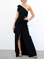 cheap -A-Line Celebrity Style Elegant Engagement Formal Evening Dress One Shoulder Sleeveless Floor Length Stretch Fabric with Bow(s) Split 2021