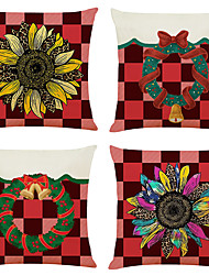 cheap -Grid Sunflower Double Side Cushion Cover 4PC Soft Decorative Square Throw Pillow Cover Cushion Case Pillowcase for Bedroom Livingroom Superior Quality Machine Washable Indoor Cushion for Sofa Couch Bed Chair