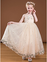 cheap -Princess Ankle Length Flower Girl Dresses Party Satin Sleeveless V Neck with Bow(s)