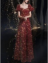 cheap -A-Line Sparkle Elegant Prom Formal Evening Dress Square Neck Sweetheart Neckline Short Sleeve Floor Length Sequined with Sequin 2021