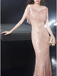 cheap -Sheath / Column Sparkle Elegant Prom Formal Evening Dress Jewel Neck Short Sleeve Floor Length Sequined with Tassel 2021