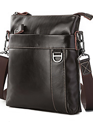 cheap -Men's Bags Polyester Cowhide Coin Purse Crossbody Bag Zipper Plain Daily Going out Retro Leather Bag Dark Coffee