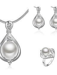 cheap -Women's Bridal Jewelry Sets 3D Pear Fashion Imitation Pearl Silver Plated Earrings Jewelry White For Christmas Party Wedding Gift Festival 1 set