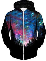 cheap -Men's Full Zip Hoodie Jacket Graphic Prints Galaxy Star Print Zipper Print Daily Sports 3D Print Casual Streetwear Hoodies Sweatshirts  Blue