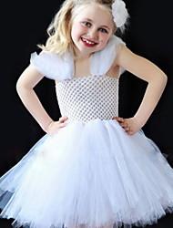 cheap -Kids Little Girls' Dress Solid Colored A Line Dress Wedding Mesh Ripped White Knee-length Sleeveless Princess Sweet Dresses Summer Regular Fit 2-8 Years