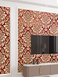 cheap -Wallpaper Wall Covering Sticker Film Embossed Stripe European Style 3D Thick Damascus Non Woven Home Decor 53*950CM
