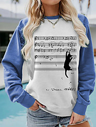 cheap -Women's Pullover Character Music Patchwork Print Party Casual Daily Other Prints Sportswear Active Hoodies Sweatshirts  Blue Green Red