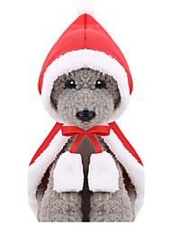 cheap -Autumn And Winter New Cat Accessories Pet Clothing Cat Christmas Little Red Riding Hood Cape Cape Simple Style Wrap Included Dog Outfits Waterproof 1 Costume for Girl and Boy Dog Flannel Fabric