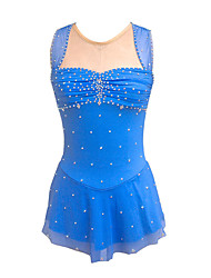 cheap -Figure Skating Dress Women's Girls' Ice Skating Dress Blue Open Back Spandex High Elasticity Training Competition Skating Wear Crystal / Rhinestone Sleeveless Ice Skating Figure Skating