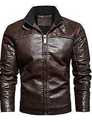 cheap -men's faux leather jacket pu leather motorcycle jacket (coffee, m)