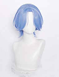 cheap -sk8 the infinity langa cosplay wig short blue middle part halloween party mens hair