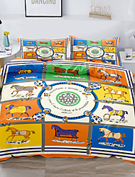 cheap -Horse Printed 3-Piece Duvet Cover Set Hotel Bedding Sets Comforter Cover with Soft Lightweight Thicken Fabric, Include 1 Duvet Cover, 2 Pillowcases for Double/Queen/King(1 Pillowcase for Twin/Single)