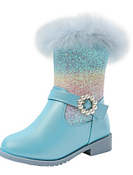 cheap -Girls' Boots Snow Boots Princess Shoes Leather PU Portable High Elasticity Snow Boots Big Kids(7years +) Little Kids(4-7ys) Daily Party & Evening Walking Shoes Buckle Blue Pink Fall Winter / TR
