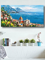 cheap -Oil Painting Handmade Hand Painted Wall Art Modern Mediterranean Sea Garden 3D Pallet Knife Home Decoration Decor Stretched Frame Ready to Hang
