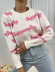 cheap -Women's Pullover Cropped  Sweater Jumper Knitted Letter Stylish Casual Soft Long Sleeve Sweater Cardigans Crew Neck Fall Winter White