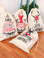 cheap -Large Printed Linen Backpack Bundle Mouth Christmas Gift Bag Candy Bag Christmas Apple Bag Accessories