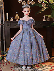cheap -Princess Ankle Length Flower Girl Dresses Party Sequined Raglansleeve Jewel Neck with Pleats