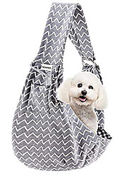 cheap -FDJASGY Small Pet Sling Carrier-Hands Free Reversible Pet Papoose Bag Tote Bag with a Pocket Safety Belt Dog Cat for Outdoor Travel (Gray Stripe)