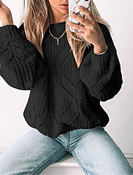 cheap -Women's Pullover Sweater Jumper Knitted Solid Color Stylish Basic Casual Long Sleeve Sweater Cardigans Crew Neck Fall Winter Yellow White Black