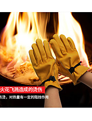 cheap -Outdoor Barbecue Picnic Insulated Leather Gloves Camping Bonfire Anti-Scald Flame Retardant Gloves Soft And Wear-Resistant For Winter Riding