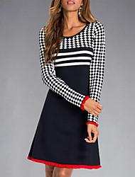 cheap -Women's A Line Dress Knee Length Dress Black Long Sleeve Geometric Print Fall Winter Round Neck Casual 2021 M L XL XXL 3XL 4XL
