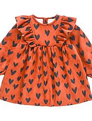 cheap -Kids Little Girls' Dress Heart A Line Dress Casual Daily Holiday Ruffle Print Orange Navy Blue Midi Long Sleeve Casual Cute Dresses Fall Winter Regular Fit 2-6 Years