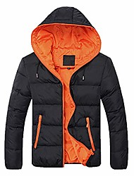 cheap -men's hooded winter coat warm puffer jacket thicken cotton mountain waterproof ski jacket windproof warm snow coat(orange,medium)