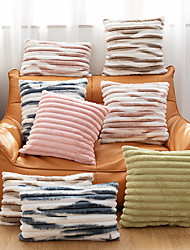 cheap -Tie-dye Contrast Stripes Plush Sofa Cushion Cover Home Decoration Solid Color Plush Pillowcase