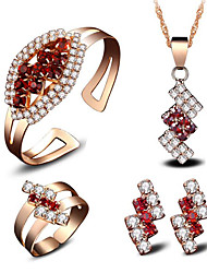 cheap -Women's Crystal Bridal Jewelry Sets Geometrical Flower Stylish Earrings Jewelry Red For Party Wedding Gift Festival 1 set