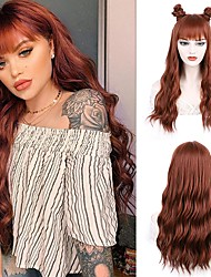 cheap -Synthetic Copper Wig with Bangs Long Wavy Wig with Air Bangs for Women Long Synthetic Wigs Fluffy Wavy colorful wigs for Cosplay Party Daily Wear 24 Inches