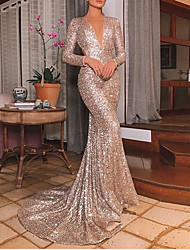 cheap -Mermaid / Trumpet Beautiful Back Sparkle Party Wear Formal Evening Dress V Neck Long Sleeve Sweep / Brush Train Sequined with Sequin 2021