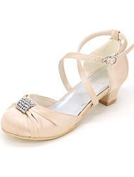 cheap -Girls' Heels Flower Girl Shoes Satin Big Kids(7years +) Little Kids(4-7ys) Wedding Crystal / Rhinestone Blue Purple Red Spring Summer