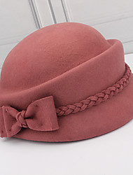 cheap -Women's Party Hat Party Wedding Street Bow Pure Color Wine Camel Hat Black Red Khaki Fall Winter