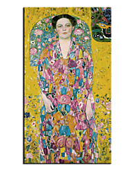 cheap -Oil Painting Handmade Hand Painted Wall Art Famous Classic Portrait Of Eugenia Primavesi By Gustav Klimt Home Decoration Decor Rolled Canvas No Frame Unstretched