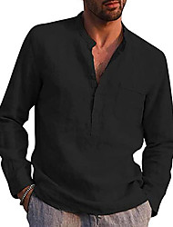 cheap -Men's Shirt Solid Color Pocket Formal Style Modern Style Long Sleeve Street Regular Fit Tops Cotton Modern Style Lightweight Casual Vacation V Neck Light Blue Wine Red Gray