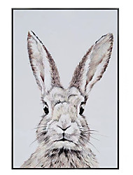 cheap -Oil Painting Handmade Hand Painted Wall Art Modern Retro Animal Rabbit Abstract Living Room Decor Home Decoration Decor Stretched Frame Ready to Hang