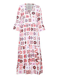 cheap -Women's A Line Dress Maxi long Dress White 3/4 Length Sleeve Floral Print Fall V Neck Casual Vintage 2021 S M L XL XXL