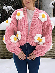 cheap -Women's Cardigan Cropped  Sweater Knitted Floral Stylish Casual Chunky Long Sleeve Lantern Sleeve Sweater Cardigans V Neck Fall Winter Blushing Pink
