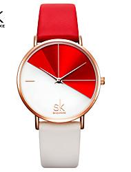 cheap -Shengke Fashion Women Dual Color Faux Leather Strap Round Dial Analog Quartz Wrist Watch Simple Quartz Watch Dating Gift Watch