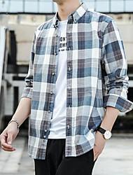 cheap -Men's Shirt Lattice Plus Size Long Sleeve Street Tops Casual Fashion Breathable Comfortable Blue Yellow