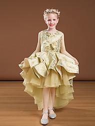 cheap -Princess Asymmetrical Flower Girl Dresses Party Satin Sleeveless Jewel Neck with Bow(s)