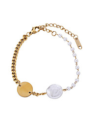 cheap -Women's Pearl Bead Bracelet Pendant Bracelet Braided Joy Simple Natural Sweet Pearl Bracelet Jewelry Silver / Golden For Gift Daily Work / Titanium Steel