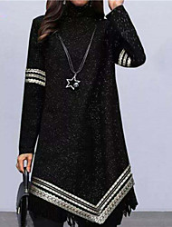 cheap -Women's A Line Dress Knee Length Dress Black Navy Blue Long Sleeve Striped Tassel Fringe Patchwork Fall Round Neck Casual Regular Fit 2021 S M L XL XXL 3XL