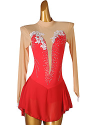 cheap -Figure Skating Dress Women's Girls' Ice Skating Dress Red Open Back Patchwork High Elasticity Training Competition Skating Wear Classic Long Sleeve Ice Skating Figure Skating